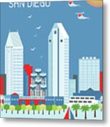 San Diego California Vertical Skyline Metal Print