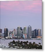 San Diego Skyline And Marina At Dusk Metal Print