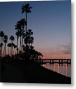 San Diego Sunset With Palm Trees Metal Print