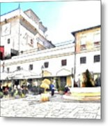 San Felice Circeo Bar And Fountain In The  Square Metal Print