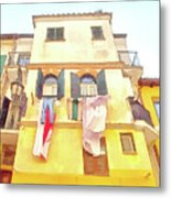 San Felice Circeo Building With The Put Clothes Metal Print