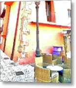 San Felice Circeo Chairs And Street Lamp Metal Print