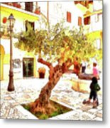 San Felice Circeo Olive Tree In The Square Metal Print