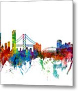 San Francisco And Pittsburgh Skylines Mashup Metal Print