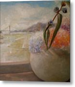 San Francisco Bay With Floral Metal Print