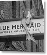 San Francisco Blue Mermaid Bw Metal Print
