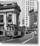 San Francisco Cable Car During Wwii Metal Print