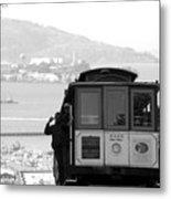 San Francisco Cable Car With Alcatraz Metal Print by Shane Kelly