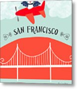 San Francisco California Vertical Scene - Bird In Plane Over San Francisco Metal Print