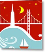 San Francisco California Vertical Scene - East Bay Bridge And Boat Metal Print