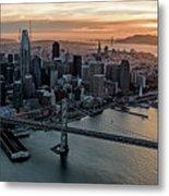 San Francisco City Skyline At Sunset Aerial Metal Print