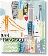 San Francisco Cityscape- Art By Linda Woods Metal Print