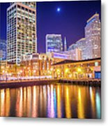San Francisco Downtown City Skyline At Night Metal Print