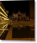 San Marco In Venice At Night Metal Print