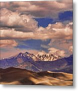 Sand Dunes - Mountains - Snow- Clouds And Shadows Metal Print