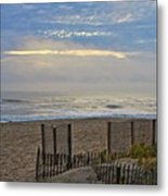 Sand Fence And Beach Metal Print