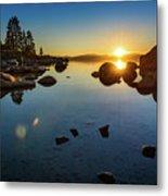 Sand Harbor Sunset Metal Print