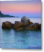 Sand Rocks In The Sea At Sunset Metal Print