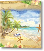 Sand Sea Sunshine On Tropical Beach Shores Metal Print