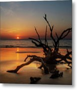 Sand Surf And Driftwood Metal Print