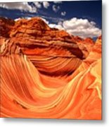 Sandstone Waves And Clouds Metal Print