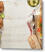 Sandwich With Salmon, Cucumber, Cream Cheese, Dill And Tomatoe Metal Print