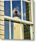 Sandy Hook Lighthouse Reflection Metal Print