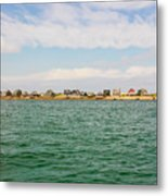 Sandy Neck Lighthouse And Cottages, Barnstable, Massachusetts, U.s.a. Metal Print