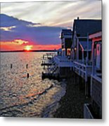 Sandy Neck Sunset At The Cottages Metal Print