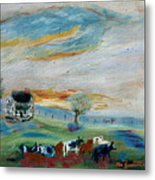 Sandy Ridge Cattle Metal Print