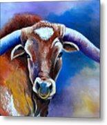 Sandy's Longhorn Bull Metal Print
