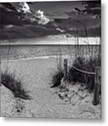 Sanibel Island Beach Access In Black And White Metal Print