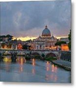 Sant Angelo Bridge At Dusk Metal Print