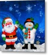 Santa And Frosty Painting Image With Canvased Texture Metal Print