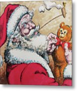 Santa And Teddy Metal Print