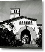 Santa Barbara Courthouse Black And White-by Linda Woods Metal Print