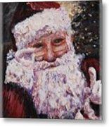 Santa Chat Metal Print