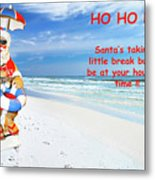 Santa Christmas Greeting Card Metal Print