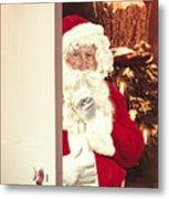 Santa Claus At Open Christmas Door Metal Print