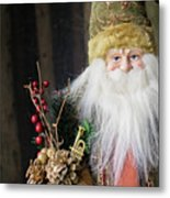 Santa Claus Doll In Green Suit With Forest Background. Metal Print