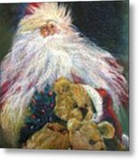 Santa Claus Riding Up Front With The Big Guy  Metal Print