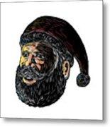 Santa Claus Three-quarter View Scratchboard Metal Print