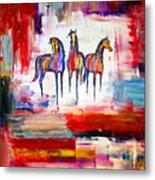 Santa Fe Dreams Horses Metal Print