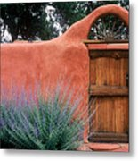 Santa Fe Gate No. 2 - Rustic Adobe Antique Door Home Country  Metal Print