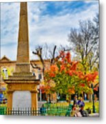 Santa Fe Obelisk A Pigeon And An Accordian Player Metal Print