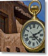 Santa Fe Plaza Clock Metal Print