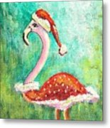Santa Flamingo Metal Print