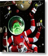 Santa In Space Metal Print