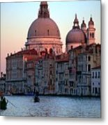 Santa Maria Della Salute On Grand Canal In Venice In Evening Light Metal Print