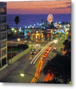 Santa Monica Ca Pacific Park Pier  Sunset Metal Print